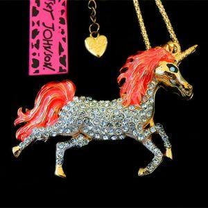 Crystal Unicorn Horse Pendant Long Chain Necklace
